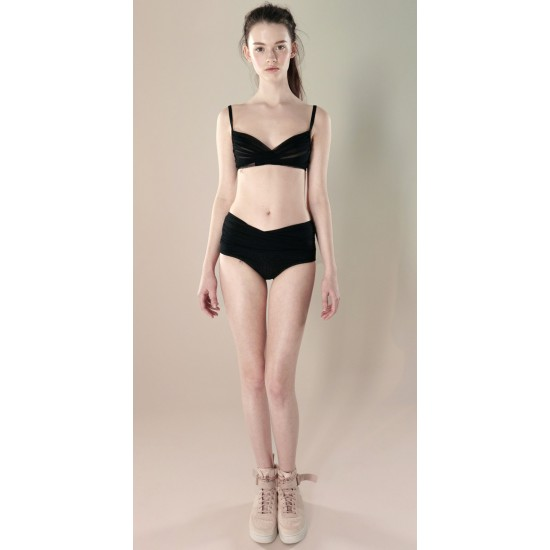 New Style - Authentic Guarantee - Just A Corpse- 'Grès Black Draped Bralette'